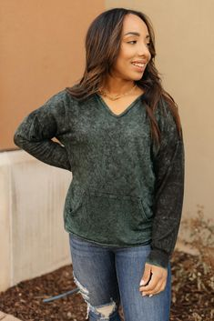 A Cozy Hooded Top in Hunter Green - XS