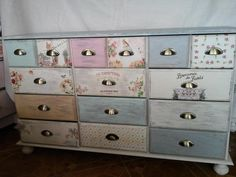 """Dressers - Pharmacy cabinet """"patchwork"""" in shabby - a unique product by ArtNata on DaWanda Decoupage Furniture, Recycled Furniture, Furniture Projects, Furniture Design, Shabby Chic Ikea, Craft Room Storage, Best Wordpress Themes, Dresser, House Design"""