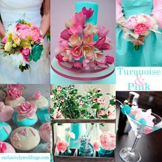 Turquoise and Pink Wedding Colors. Turquoise and Pink is perfect for warm months. You can use a soft pink or hot pink, depending on the look you are trying to achieve.