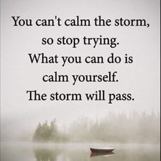 Calm yourself my friend, the storm will pass. #LiveFreeLoveWell 1-800-910-5060 BrokenChainsIntl.com