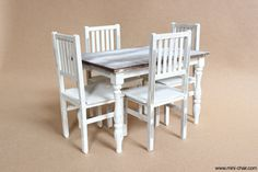 1/6 scale Miniature Farmhouse Table and 4 Chairs by miniCHAIR