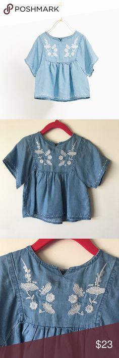 Chambray Flutter Sleeve Embroidered Top NWT Zara Shirts & Tops