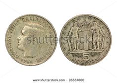 Old Greek 5 drachmas coin from 1966 (two sides), shows King Constantine II. Old Greek, Greece Photography, Greek History, Gold And Silver Coins, Thessaloniki, Athens Greece, Rare Coins, My Memory, Archaeology