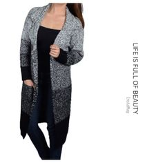 Full sleeves notched collar knee length overcoat Beautiful as pictured with 70% acrylic and 30%wool . Sweaters Cardigans