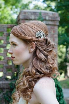 hair comb and hairstyle idea - JMGJewelDesign on Etsy @Aisha Lee Lee you need to start a wedding hair/makeup board!!