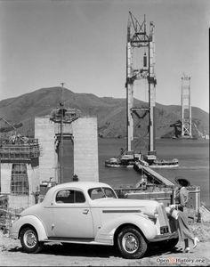 Pontiac at Golden Gate Bridge Apr 17, 1935 under construction above Fort Point…