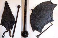 1860-1960 Ebay seller, Victorian Civil War Pleated Black Silk Ebony Folding Marquis Mourning Parasol