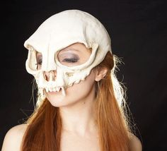 cat skull half mask by HighNoonCreations on Etsy