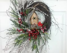 Rustic Christmas Wreath Christmas Wall Basket by FlowerPowerOhio