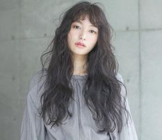 Ashy Hair, Dark Brunette Hair, Curly Asian Hair, Curly Hair Styles, Permed Hairstyles, Pretty Hairstyles, Cute Girl Face, Hair Reference, Salon Style