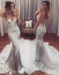 Sexy Sequined Prom Dresses,Silver Cheap Prom Dress, Sexy Backless Formal Dress,Evening Gowns,Sequin Prom Dresses