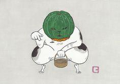 お菓子求む #illustration #イラスト #絵 #和風 #猫 #動物 #ハロウィン