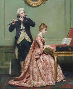 Robert James Gordon A Music Lesson(also known as Musical Duet) - The Largest Art reproductions Center In Our website. Low Wholesale Prices Great Pricing Quality Hand paintings for saleRobert James Gordon Victorian Paintings, Victorian Art, Classic Paintings, Beautiful Paintings, Musical Duets, Renaissance Kunst, Piano Art, 18th Century Fashion, Rocker Girl