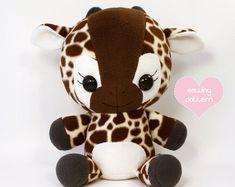 "PDF sewing pattern - Giraffe plush - cute easy cute kawaii DIY stuffed animal large cuddly plushie 16"""