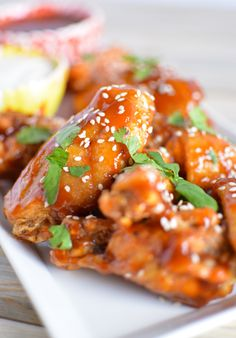 Sweet and Spicy Asian-Style Chicken Wings #footballfood #superbowl #recipe