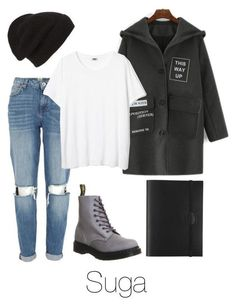 A fashion look from January 2016 featuring River Island jeans, Dr. Martens ankle booties and Phase 3 hats. Browse and shop related looks. Kpop Fashion Outfits, Edgy Outfits, Korean Outfits, Outfits For Teens, Fall Outfits, Bts Inspired Outfits, Korean Fashion Kpop Inspired Outfits, Bts Clothing, Teenager Outfits