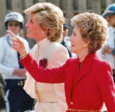 "November 11, 1985: Princess Diana with Mrs. Nancy Reagan at the Springfield Drug Rehabilitation Center called ""Straight"" in Springfield, Virginia."