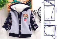 molde-para-hacer-una-chaqueta-para-nino-1 Baby Girl Dress Patterns, Doll Clothes Patterns, Clothing Patterns, Baby Outfits, Kids Outfits, Sewing For Kids, Baby Sewing, Baby Coat, Creation Couture