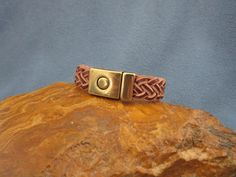 15mm Bordeaux and Natural 5 Strand Braided Flat Leather Bracelet with Antique Brass Magnetic Clasp