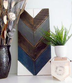 Chevron Wall Art  Wood Chevron  Reclaimed Wood by KatesCraftyHeart