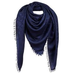 Preowned Louis Vuitton Monogram Shawl Blue Marine - M72412 ($395) ❤ liked on Polyvore featuring accessories, scarves, blue, louis vuitton scarves, monogram shawl, monogrammed scarves, silk shawl and blue shawl