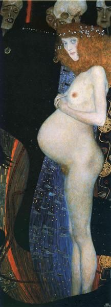 """Klimt the revolutionary. Gustav Klimt painted a few different """"Hope"""" paintings, but the one I am interested in is """"Hope I"""" painted in 1903 - This piece, back when pregnancy was considered ugly and vulgar. Gustav Klimt, Art Klimt, Franz Josef I, Wow Art, Oeuvre D'art, Art And Architecture, Les Oeuvres, Painting & Drawing, Art History"""