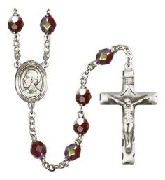 Pope Saint Eugene I Silver-Plated Rosary with 7mm Garnet Lock Link Aurora Borealis beads