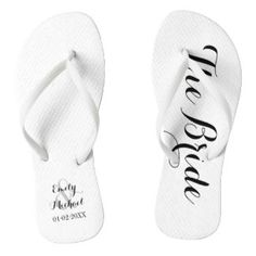 95ec532889b5c8 Custom bride and groom beach wedding flip flops on black and white.  Personalise it with