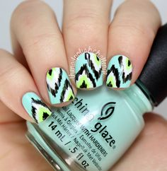 Mint Green Ikat Nails
