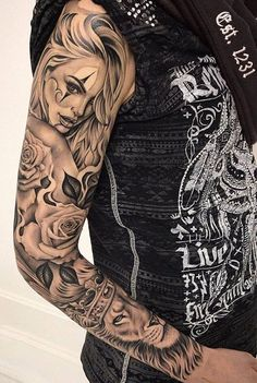 Marked for Life: Tattoos and Gangs - Sleeve Tattoo Ideas – Golden Canvas Tattoo & Art - Chicano Tattoos Sleeve, Forearm Sleeve Tattoos, Best Sleeve Tattoos, Sleeve Tattoos For Women, Tattoo Sleeve Designs, Tattoo Designs Men, Leg Tattoos, Body Art Tattoos, Sleeve Tattoo Women