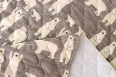 Japanese Fabric quilted double gauze  polar bears  taupe