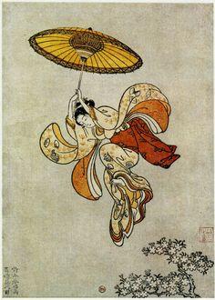 'Hermosanikita' by Suzuki Harunobu (Japan, woodblock print artist, 1725 Japanese Artwork, Japanese Painting, Japanese Prints, Art And Illustration, Art Occidental, Art Chinois, Art Asiatique, Art Japonais, Inspiration Art