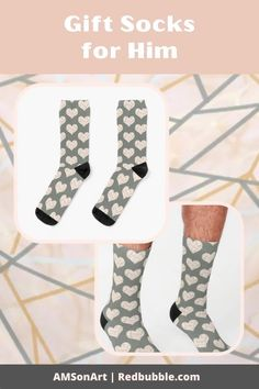 Show him you love him with these Grey Lines on Peachy Background Modern Heart Shape Design Socks by AMSonArt Thoughtful Gifts For Him, Designer Socks, Shape Design, Recycled Materials, Things To Buy, Crew Socks, Sell Your Art, Heart Shapes, Looks Great