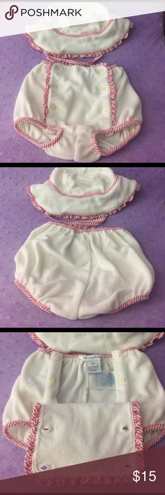 Ralph Lauren polo terry cloth diaper cover and hat Never worn Ralph Lauren terry cloth diaper cover and matching hat. Perfect for your little one to kick back by the pool or beach. Bought it an my daughter never fit in it when the time came. My loss your gain! Accepting all reasonable offers 😊 bundle and save with my 20% discount! Polo by Ralph Lauren Swim