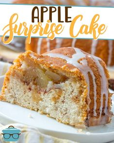 Apple Surprise Cake The Country Cook - This Apple Surprise Cake recipe is made with an apple muffin mix with a surprise apple pie filling that is seen only when the cake is cut! Apple Desserts, Apple Recipes, Pumpkin Recipes, Easy Desserts, Cake Recipes, Dessert Recipes, Cinnamon Desserts, Delicious Desserts, Apple Cinnamon