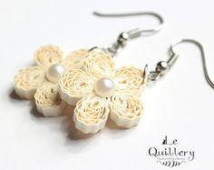 Cream Flower Filigree Earrings - Handmade Paper Quilling Jewelry - First Anniversary Gift