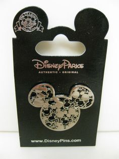 Disney Hiden Mickey Head Ears Silver Tone Colored Trading Pin New | eBay