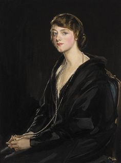 "Portrait of Mrs E. Bowen-Davies by Irish painter Sir John Lavery 1923 Oil on canvas "" In the twenties Lavery sought to modernize his portraiture to meet new challenges and reflect social. Giovanni Boldini, Camille Pissarro, John Singer Sargent, Glasgow School Of Art, Art School, Claude Monet, Mary Cassatt, Henri Matisse, Charlotte Brontë"