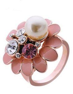 Romantic Flower Pearl Jewelry Ring Ladies Rings (2.0x3.0cm) -US$ 20.99