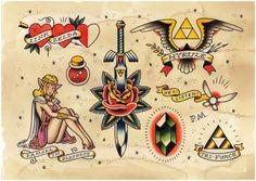 Zelda flash tattoo ideas