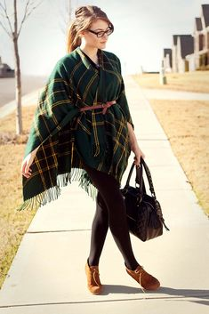 plaid poncho with belt