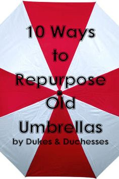 10 ways to repurpose old umbrellas - who has old umbrellas?  I think they go where socks go when they disappear from the laundry.