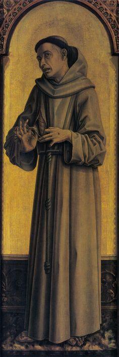 ❤ - CARLO CRIVELLI (1435 – 1495) - Polittico di Montefiore (dettaglio) - S. Francesco. Musées Royaux des Beaux-Arts, Bruxelles.