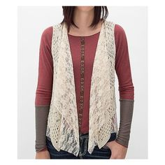 Women's Crochet Sweater Vest in Cream by Daytrip. ($35) ❤ liked on Polyvore featuring tops, cream, lace top, fringe tank, cream lace top, pink lace top and pink tank top
