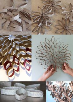 How to DIY toilet paper roll wall art projectAmazing diy paper craft ideas step by step ideasMore decor product than waste material Atık Toilet Paper Roll Art, Rolled Paper Art, Toilet Paper Roll Crafts, Diy And Crafts, Crafts For Kids, Christmas Crafts, Christmas Decorations, Christmas Christmas, Navidad Diy