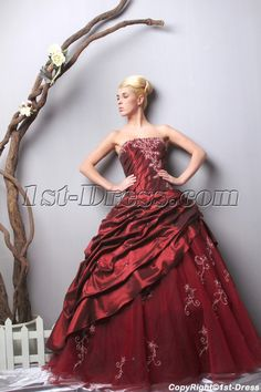 a586e64448f 1st-dress.com Offers High Quality Unique Strapless Long Burgundy  Quinceanera Dresses 2013 Spring