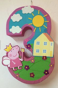 1 piñata decorate Fairy Peppa Pig 27 x 14 x 5 Made to order days to make it. The piñata can holds 5 to 6 lbs The piñatas are made to order We Peppa Pig Pinata, Cumple Peppa Pig, Adult Birthday Party, Third Birthday, Birthday Games, Peppa Pig Birthday Decorations, Adult Party Themes, Pigs, Fairies