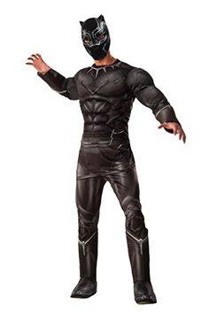 Marvel Mens Captain America Civil War Deluxe Muscle Chest Panther Costume Black Standard * Read more reviews of the product by visiting the link on the image.