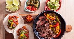 you can almost taste these mouth-watering fajitas! Recipe courtesy of New Idea Magazine. Mexican Dishes, Mexican Food Recipes, Ethnic Recipes, Fresh Lime, The Fresh, Fall Recipes, Dinner Recipes, Beef Fajitas, Grill Plate