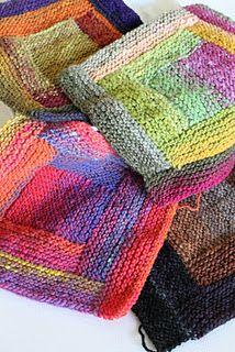 Four blocks so far--Noro Kureyon yarn